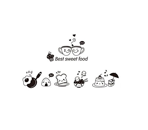 Da.Wa Etiqueta Adhesiva de Pared de Vinilo Diseño Decorativo de Linda para Cafetería, Restaurante, Cocina, Sala de Estar (A)