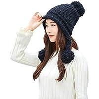 GHC Gorras y Sombreros Mujeres Invierno Cálido Baotou Orejeras Sombrero de Lana Sombrero de Punto Chunky Baggy Hat (Color : Negro, Size : Freesize)