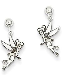 14ct blanco de Disney Campanilla pendientes largos con forma Juego de pendientes de Post - JewelryWeb