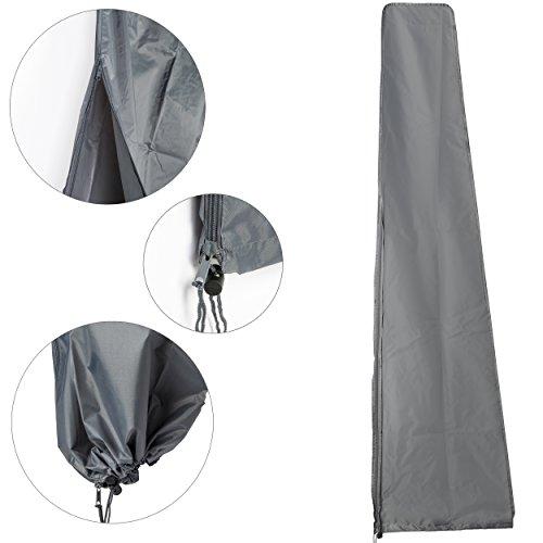KROLLMANN Schutzhülle in Grau für Sonnenschirme bis zu einem Durchmesser von 4 m aus Polyester, Abdeckung für Gartenmöbel, Schirmhülle Maße ca. Maße: 45 cm x 230 cm (L x H) für Marktschirm