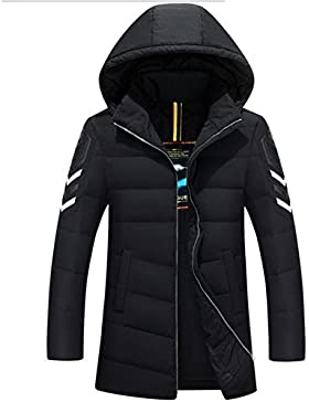 MHGAO Abajo cubren la manera del invierno de los hombres ocasionales largos de la capa , black , m