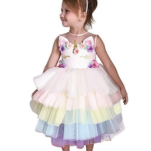 NNJXD Mädchen Einhorn-Kleid Applique-Partei Halloween-Fantasie-Kostüm Größe (110) 3-4 Jahre Rosa
