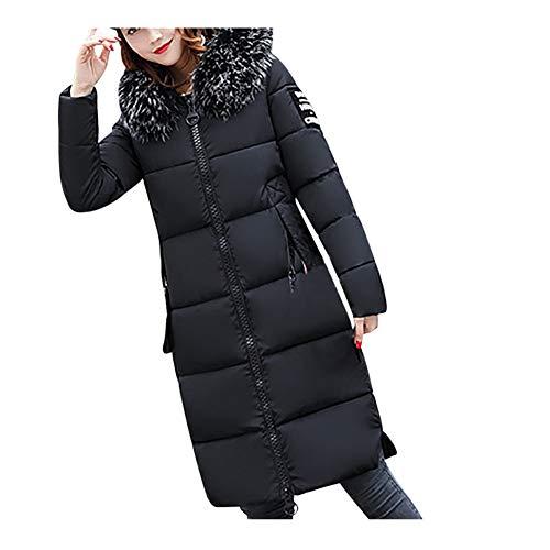 iHENGH Damen Winter Jacke Dicker Warm Bequem Slim Parka Mantel Lässig Mode Reißverschluss Frauen Feste Beiläufige Nehmen Unten Lammy ab Coat(Schwarz, XL)