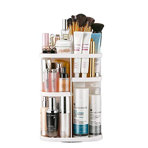 Home-Neat Organisateur de cosmétiques Jerrybox tournant à 360° avec étagères Ajustables, Boite de Rangement pour Maquillage, Large capacité, pour des crèmes, brosses, Rouges à lèvres (Round White)