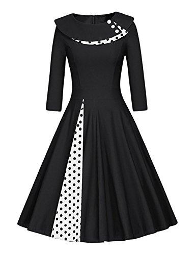 Là Vestmon Damen RetroCocktailkleid 50er Schwingen Vintage Rockabilly Kleid Faltenrock Abendkleider Polka Dot Schwarze Weiße Punkte Langarm, Schwarz, Gr. XL (90er Jahre Langarm)