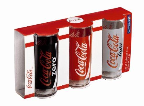 Luminarc 9298617 3 Gobelets Forme Haute 30 cl Coca Cola Mix , Multicolore