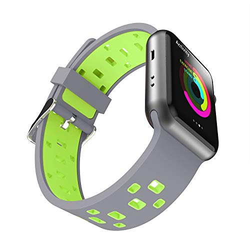 Chok Idea Strap Compatible with Apple Watch Armband 42mm 44mm,Atmungsaktiv Two-Tone Style Soft Silikon Sport Ersatzband Replacement for iWatch Series 4 3/2/1,Grey-Green Apple Green Armband