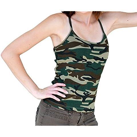 Cami Stampa mimetica Camouflage Laying Tank Top Tunica Spaghetti Camisole