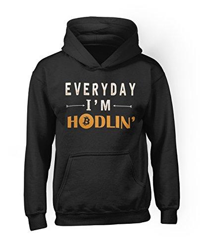 Everyday I'm Hodlin' Bitcoin Blockchain Cryptocurrency Btc Ltc Digital Currency Herren Hoodie Sweatshirt Schwarz Large (Crewneck Vintage Damen Logo)