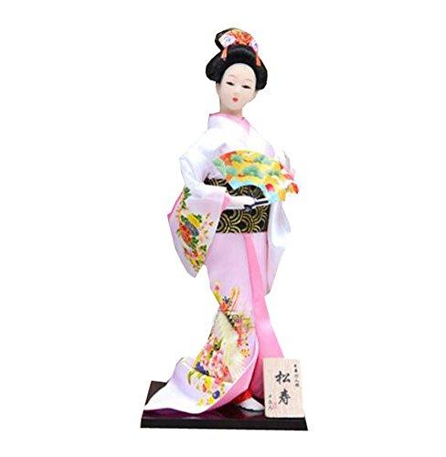"""12 \""""japanische traditionelle Vintage Kimono Tuch Geisha Puppe Figur - zufällig - A4"""