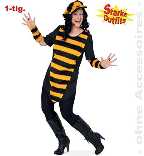 KarnevalsTeufel Big Bee Damen-Kostüm Biene Damen-Outfit Oberteil/ Kleid schwarz-gelb Damen-Verkleidung - Gelb Und Schwarz Kleid Kostüm