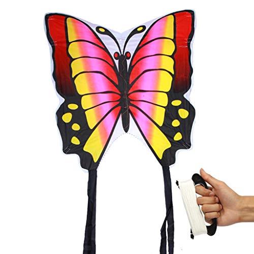 88 × 78 cm Nylon Rainbow Butterfly Cometa al Aire Libre Plegable para niños Acrobacias Kite Surf Kite (Incluyendo 100m Handle Wire Plate Reel) (Color : Pink)