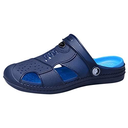 JYJM Sandales Plates Homme, Chaussures Été en Cuir, Pantoufles à Talons Plats Mules Chaussons Extérieur pour Plage Piscine Vancances(Bleu,45EU)