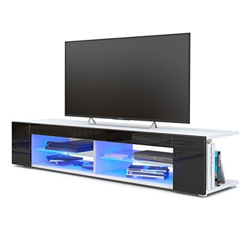 Meuble TV Armoire basse Movie, Corps en Blanc mat / Façades en Blanc haute brillance avec l'éclairage LED en Bleu