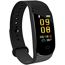 Hoteon Fitness Band, Sports Smart Bracelet,Activity Tracker Watch with Heart Rate Monitor, Waterproof Smart Fitness Band with Step Counter, Calorie Counter, Pedometer Watch for Women and Men (Black)