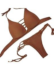 Scothen Femme rembourré push-up Halter Bikini maillot de bain Beachwear Ensembles Ensembles maillots de bain design bandage Bra mode plage Bohême Tankini Halter Bandeau Maillots de bain
