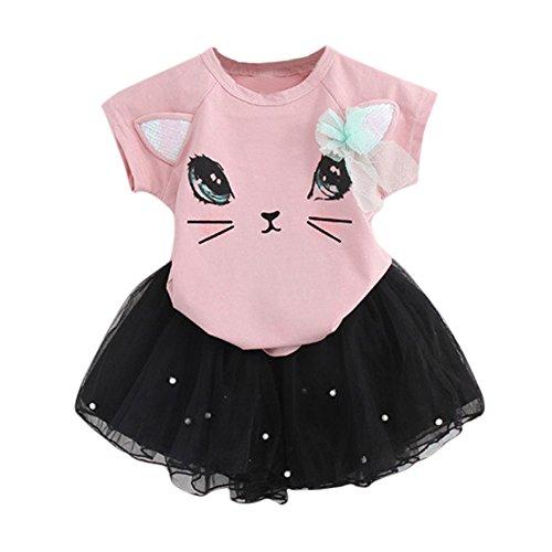(Sommer Kinder Kleider Mädchen T-Shirt + Garn Rock mädchen modegedruckten Hemd Kleid Kleidung setzen Hemdkleid Baby Tutu Kleid Mädchen Katze Muster Shirt Top Butterfly Tutu Rock Set Kleidung)