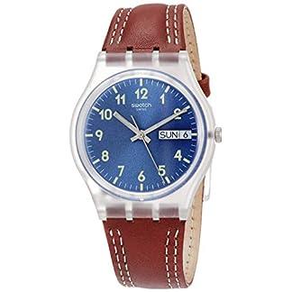Swatch Reloj Analogico para Hombre de Cuarzo con Correa en Cuero GE709