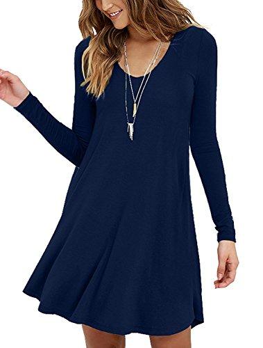 LILBETTER Damen Lange Ärmel Blusen Strandkleid Navy Blau M(EU 38-40) - Langen Ärmeln Navy Blau Shirt