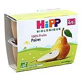 HiPP Biologique 100% Fruits Poires  coupelles 100 g Dès 4/6 Mois - 4x100g