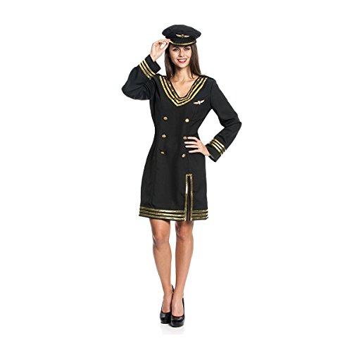 Kostümplanet® Pilotin-Kostüm Damen Stewardess Pilot Flugbegleiterin Kleid Faschingskostüm Größe 40/42 (Pilot Und Flugbegleiterin Kostümen)