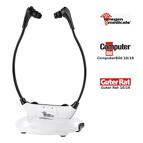 newgen medicals TV Funk Hörsystem: Funk-Kinnbügel-Kopfhörer mit Bluetooth 4.0, digitalem Eingang, 123 dB (Kinnbügel Kopfhörer Senioren)