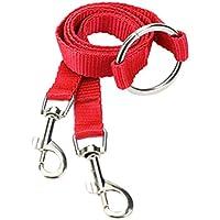 Correa de perro doble UEETEK Acoplador de perro Correa para perros gatos mascota (Rojo)