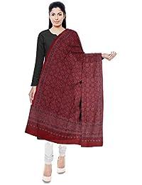 Ajrakh By Dr.Ismail Mohmed Khatri Murshidabadi Handloom Silk & Wool Blend Dupatta For Women (Red)