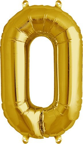NorthStar Balloons-Ballon Aluminium Chiffre 0 Or De 41Cm Non Gonflé