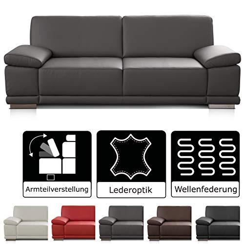 CAVADORE 3-Sitzer Sofa Corianne in Kunstleder / Leder-Couch in hochwertigem Kunstleder und modernem Design / Mit Armteilfunktion / 217 x 80 x 99 / Kunstleder grau