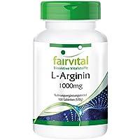 Preisvergleich für L-Arginin 1000mg - GROSSPACKUNG für 3 Monate - HOCHDOSIERT - 100 Tabletten - L-Arginin-HCL