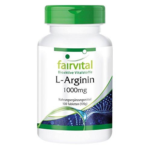 L-Arginine 1000mg par comprimé - Arginine hautement dosé - 100 comprimés - végétarien - stimulateur de virilité, apprecié pour le cœur et les vaisseaux