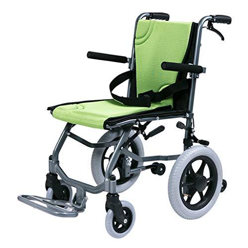 WLQWER Rollstuhl mit Eigenantrieb, ultraleichte, zusammenklappbare, tragbare Reise, Stoßdämpferreifen-Design, verdickter Rohrrahmen, 100 kg tragend,Grün -