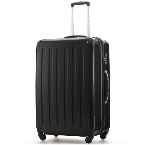 HAUPTSTADTKOFFER 130 Liter Hartschalen Koffer · Koffer 130 Liter (75x52x32 cm) · Hochglanz · TSA oder Zahlenschloss + DESIGNER KOFFERANHÄNGER (Zahlenschloss, Schwarz)