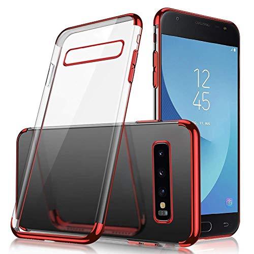 Uposao Kompatibel mit Samsung Galaxy S10e Hülle Silikon Transparent Handyhülle Weiche Silikon Plating Überzug Bumper Schutz Schutzhülle Ultra Dünn Stoßfest Anti-Kratz Case Tasche,Rot