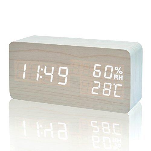 FiBiSonic Reloj Despertador Digital LED Silencioso Reloj de Mesa con Control de Sonido y Brillo Ajustable (Blanco)