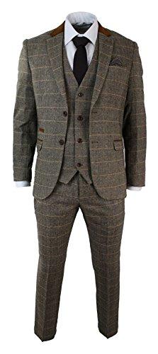 Herrenanzug Vintage Fischgräte Braun Tweed Optik 3 Teilig Eng Tailliert (Enge Anzüge)