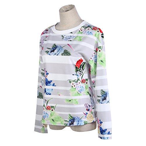 La Cabina femme Sexy Tops Haut Hoodie Sweat-Shirt Pull à Manches Longues Imprimé Floral & Rayures Larges Lâche Confortable pour Printemps Automne Blanc