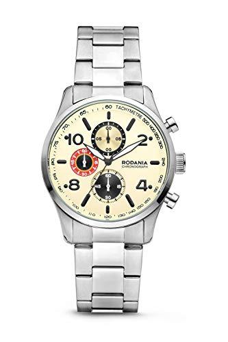 Rodania Herren-Armbanduhr Classics Motola mit Armband aus Stahl, silberfarben, Durchmesser 42 mm - 2625843