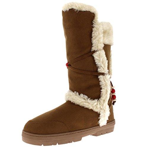 Braune Stiefel Frauen (Holly Damen Mode Winter Kunstpelz Gezeichnet Schnee Winter Gemütlich Regen Warm Schuhe Stiefel - Bräunen - UK7/EU40 - AEA0501)