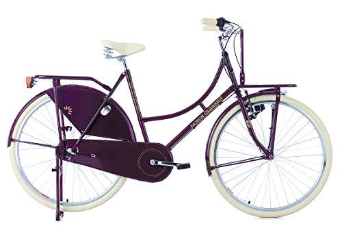 KS Cycling Damen Hollandrad 28\'\' DutchClassic 3Gänge mit Frontgepäckträger lila RH54cm Fahrrad, 28