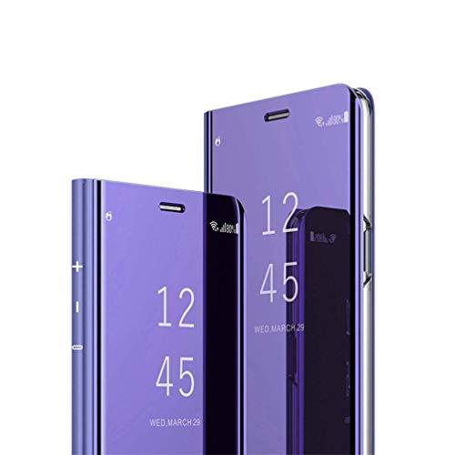JAWSEU kompatibel mit Huawei Mate 20 Lite Hülle, Huawei Mate 20 Lite Überzug Spiegel PU Leder Hülle Flip Case Wallet Tasche Cover Hüllen Magnet Schutzhülle Lederhülle Etui,Lila