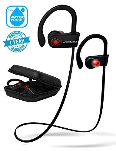 Wireless Bluetooth Headphones - SoundWhiz Waterproof Running Earbuds - w Mic & Siri. Best In Ear Sport Earphones 8 Hours Play