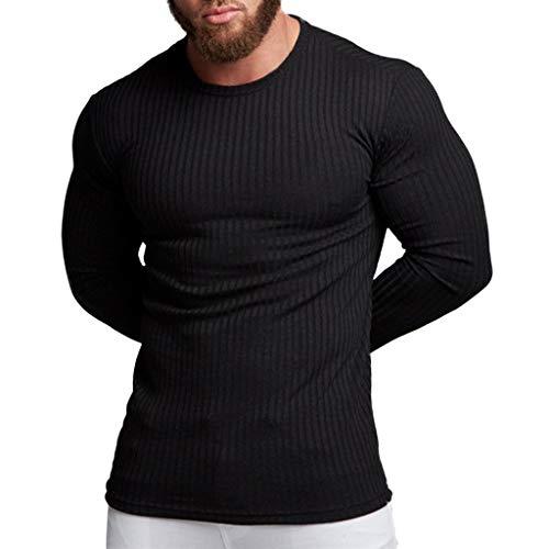 Eaylis Herren Strickwaren Herbst Und Winter Einfarbig Nadelstreifen LäSsig Muskel Bruder Pullover Herbst Und Winter Mode Langarm-T-Shirt
