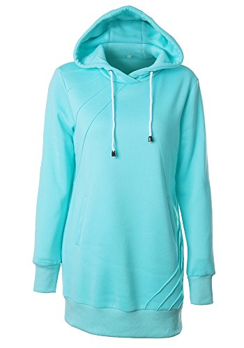 Vogue of Eden Women's Long Hoodie Pullover With Pocket, headgear and Zipper, Blue, M (Blue Striped Crewneck Pullover)