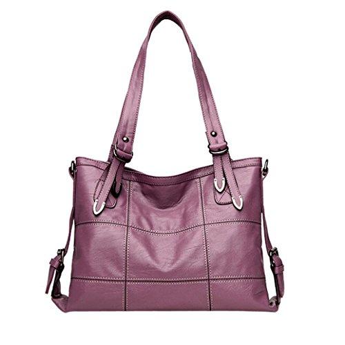 Tasche, Voberry Mode Frauen Damen Tote Casual Taschen Leder Handtasche Umhängetasche Lila