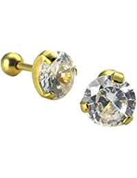 Pendientes de diamantes - TOOGOO(R) Pendientes de joyeria de hombres y mujeres, pendientes de diamantes de oxido de circonio cubico, 7 mm, acero inoxidable, de color blanco y oro