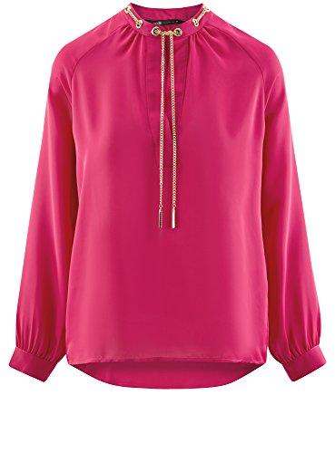 oodji Collection Damen Bluse aus Fließendem Stoff mit Metall-Verzierung Rosa (4701N)