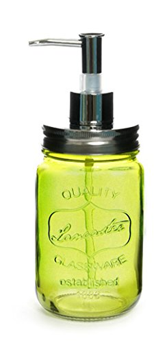 upit Dekorative bunten Glas Seifenspender 480ml (16oz), Greem, 1 Leere Mason Jars