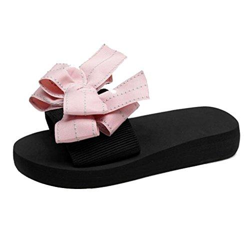 MUMA Pumps Hausschuhe Sand Strand Schuhe weibliche Sommer Bogen Flip-Flops im Freien dicken Boden Hausschuhe und Hausschuhe flache Unterseite Anti-Rutsch (Farbe : Pink, größe : EU39/UK6/CN39)